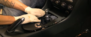 5. Remove the trim panel under the brake with your hands.