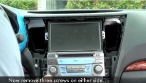 Remove six screws that fixed the stereo on the dashboard